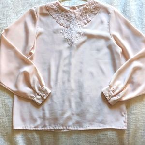 Vintage statement embroidery collar blouse